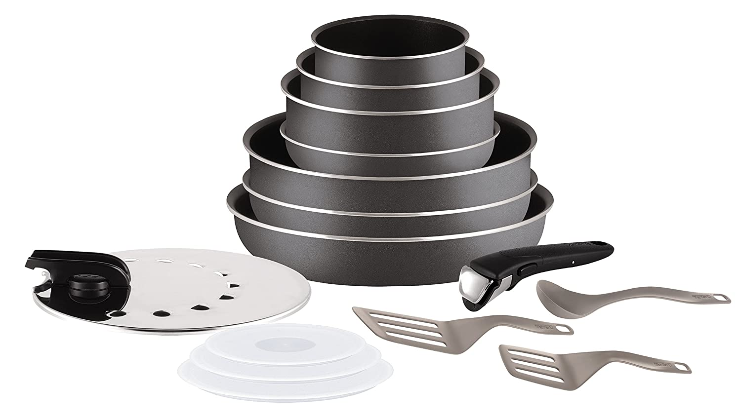 Tefal Ingenio l2048802Minute Set 15Pieces All Heat Sources Except Induction, Grey Anthracite