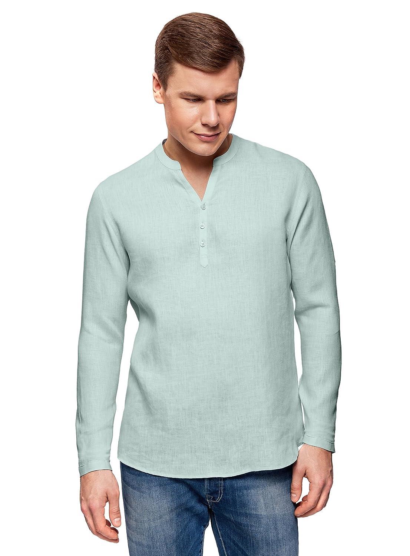 TALLA сm 44 / ES 56 / XL. oodji Ultra Hombre Camisa de Lino sin Cuello