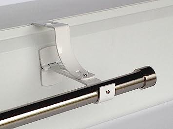 1 Support Sans Perçage Geko Pour Tringle à Rideaux Diamètre 28 Mm Spécial Caisson De Volet Roulant à Rainure Colori Blanc
