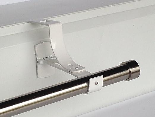 Geko 1 - Soporte sin taladro para barra de cortinas, diámetro 20 mm, especial para caja de persiana enrollable con ranura, color blanco: Amazon.es: Hogar