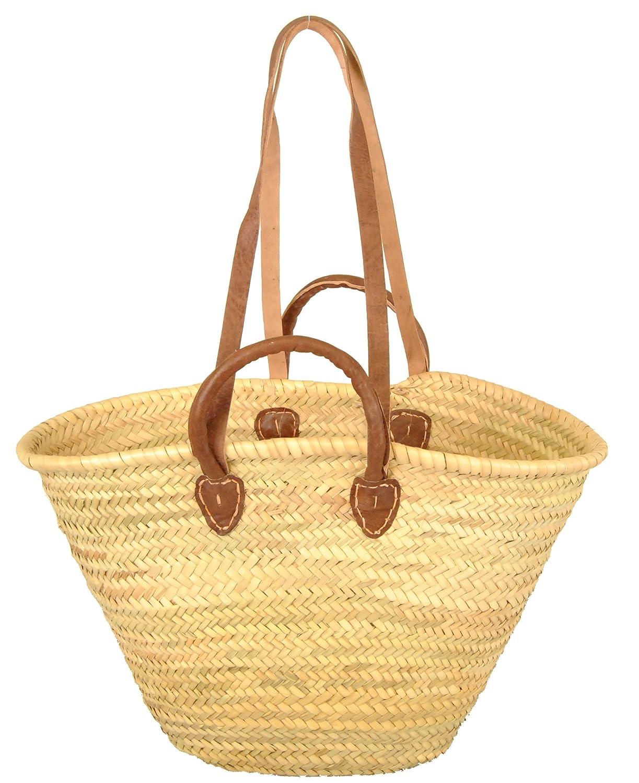 IBIZA Korbtasche aus geflochtenem Palmblatt mit Lederhenkel