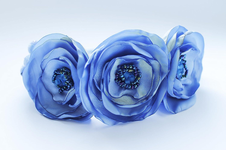 Amazon Blue Flower Headband Woman Handmade Floral Headband Hair