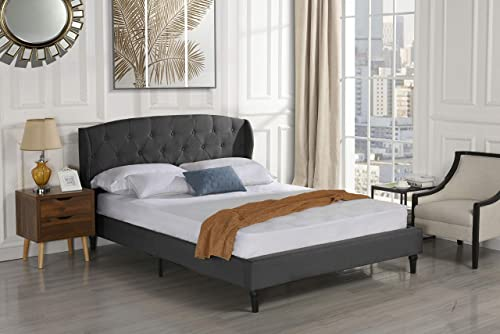 Classic Dark Grey Box-Tufted Shelter Bed Frame Queen
