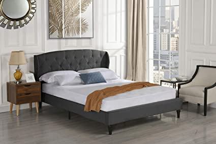 52ef239011e5 Divano Roma Furniture Classic Dark Grey Box-Tufted Shelter Bed Frame (Full)