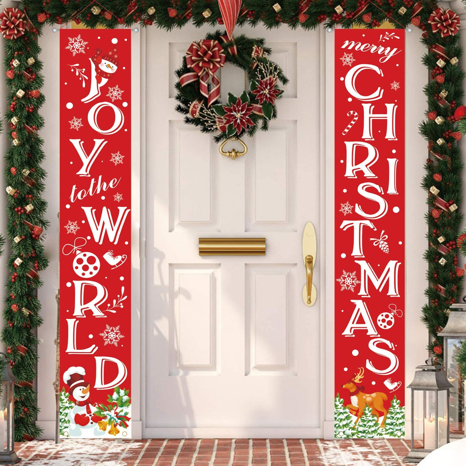 MAIAGO Christmas Decorations - Joy to The World & Merry Christmas Hanging Banners - Merry Christmas Porch Signs - Xmas Decor Banners for Indoor & Outdoor, Home, Wall, Front, Door, Apartment Party