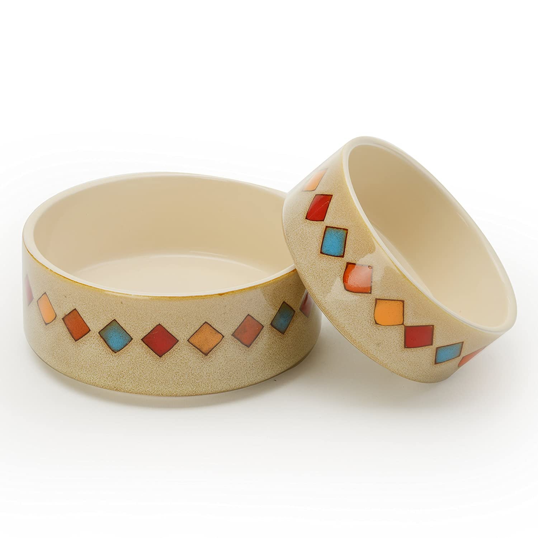 Extra Small Signature Housewares Reactive Glaze Stoneware Pet Bowls (Diamonds, Extra Small)