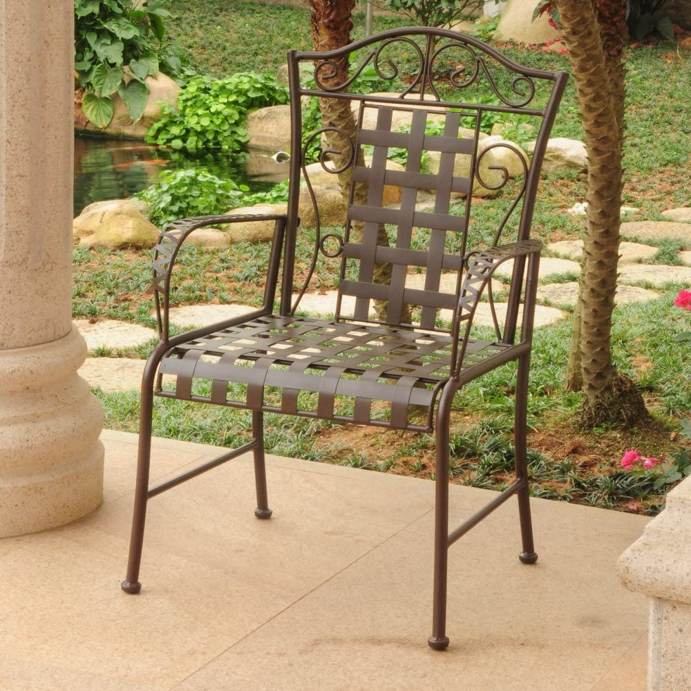 International Caravan Mandalay Iron Patio Dining Chair Set of 2