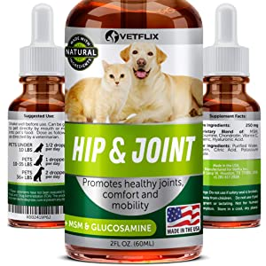 VETFLIX Glucosamine For Dogs & Cats - Dog Arthritis Pain Relief - MSM, Chondroitin, Vitamin C - For Joint & Hips Support - Made in USA - Improves Mobility - 100% Natural Ingredients