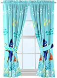 Disney/Pixar Finding Dory 'Swim Fins' Blue Microfiber Curtains with Tie Backs 4 Piece Set