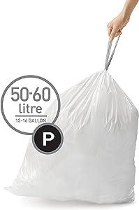simplehuman Code P Custom Fit Drawstring Trash Bags, 50-60 Liter / 13-16 Gallon, White, 200 Count