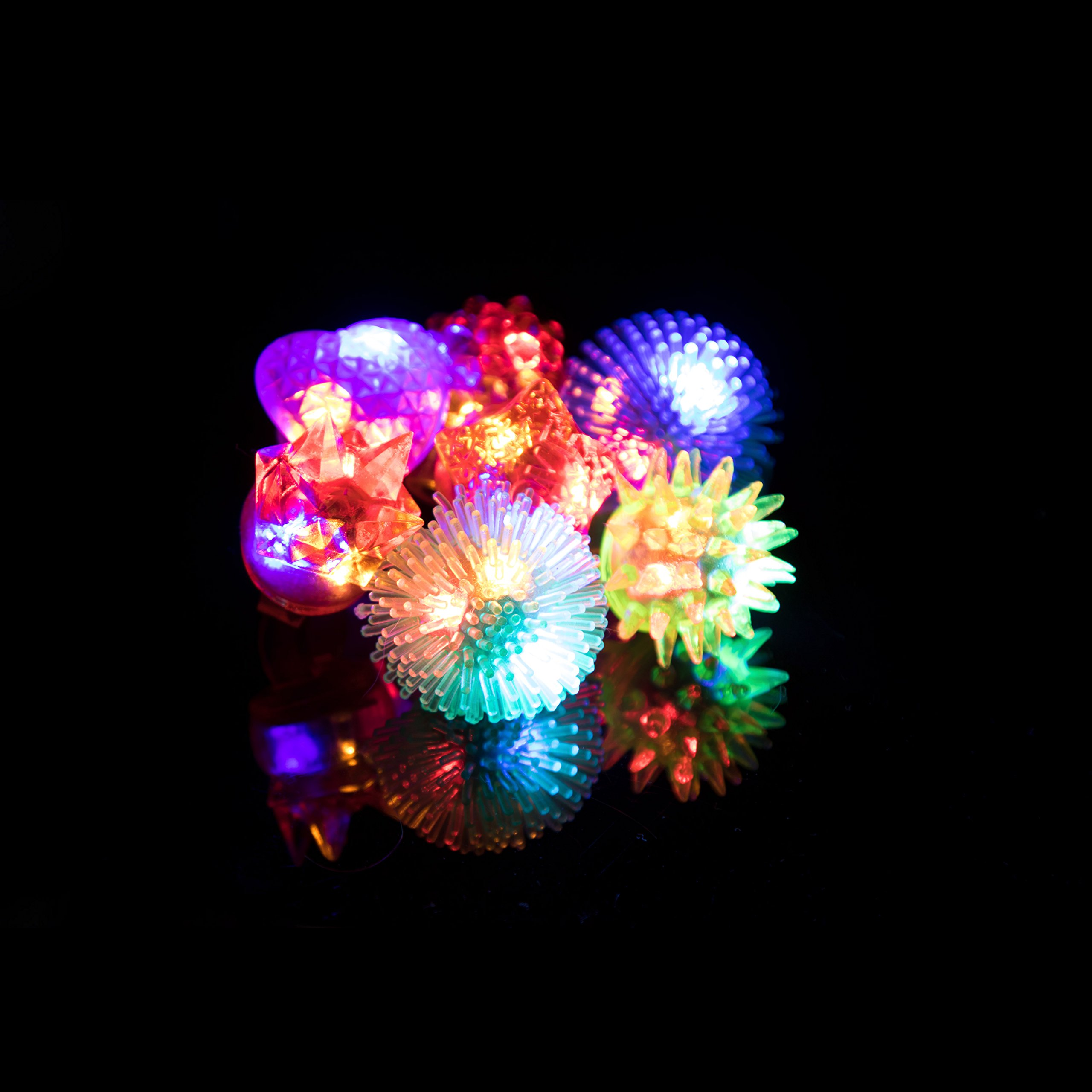LED Party Favors for Kids – 36 Pc LED Glow in The Dark Jelly Rings Party Favors Bulk Glow in The Dark Party Supplies in Assorted LED Ring Colors by PartySticks (Image #6)
