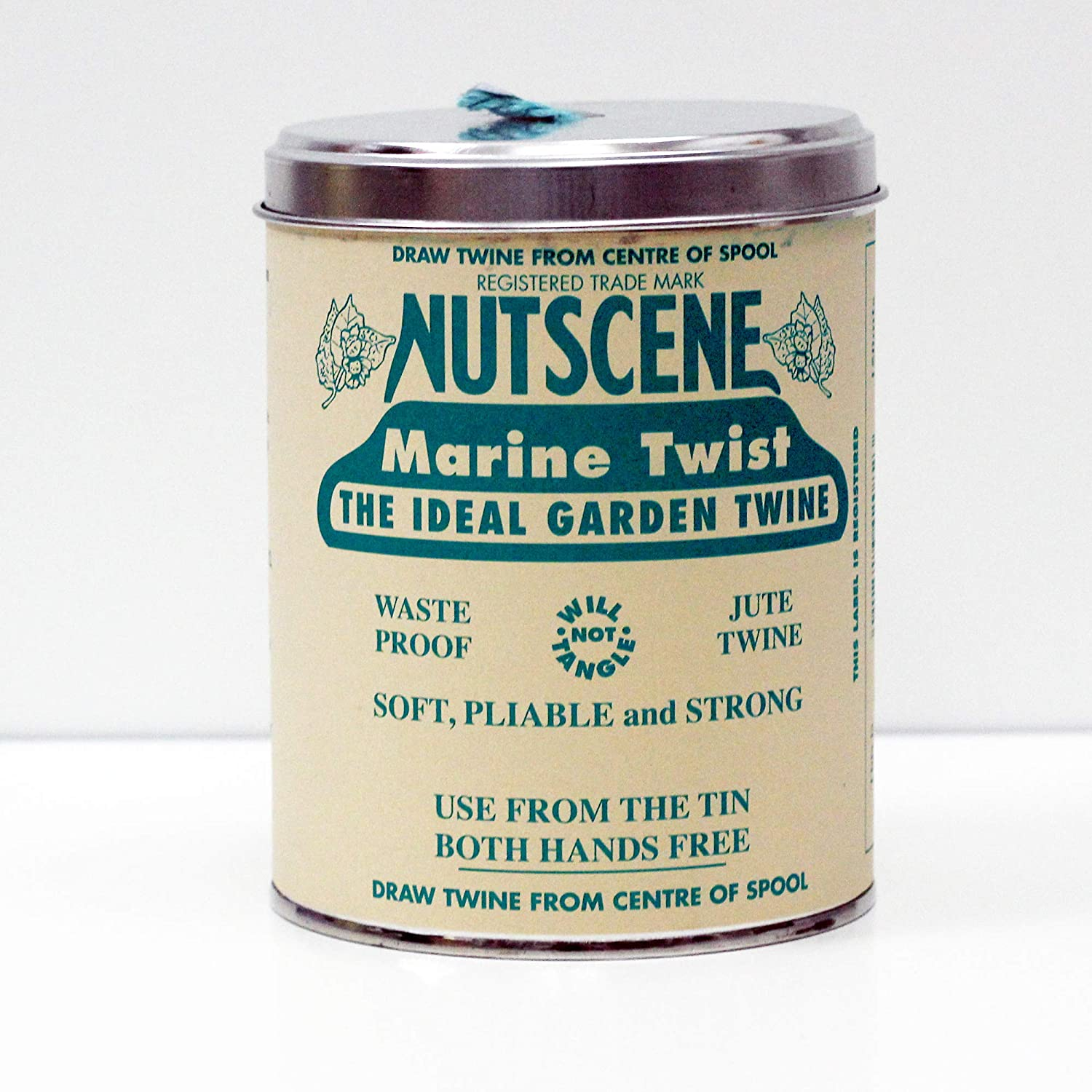 with Their Heritage Scottish Jute Twine and Hole in Top for Easy Dispensing Lime 164 Yards. 14 Colors to Choose from Tin /'O/' Twine Nancy Nikko NUTSCENE Iconic Tin
