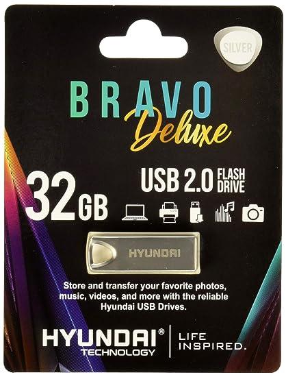 Hyundai Technologies U2BK/32GAS 32GB Bravo Deluxe USB 2.0 Flash Drive, Silver