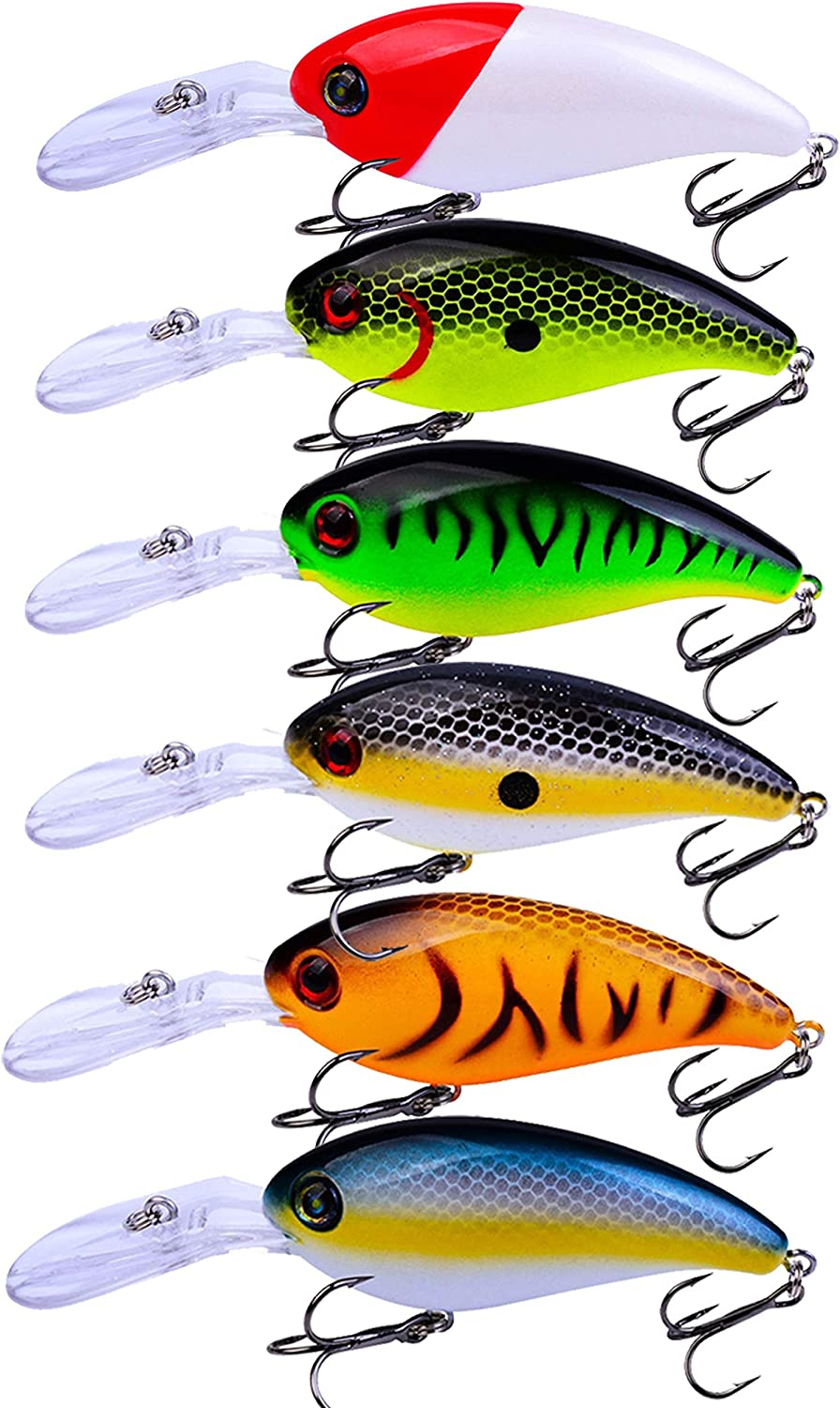 Facikono Crankbait Bass Fishing Lures, Topwater Hard Swimbait for Bass Trout Crappie Saltwater Freshwater Fishing