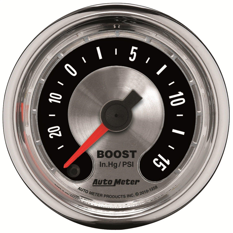 Auto Meter 1258 American Muscle 2-1//16 30 in Hg.-15 PSI Boost//Vacuum Gauge