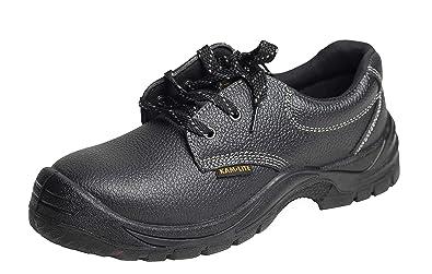 KAM LITE Herren Sicherheitsschuhe Arbeitsschuhe Stahlkappe Stiefel S3 Wasserdichte Rutschfeste ölbeständige Arbeitsschuhe Schuhe schwarz Leder