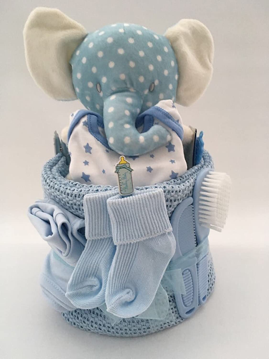 Baby boy elephant or Giraffe Nappy Cake baby gift babyshower The Big Card Company