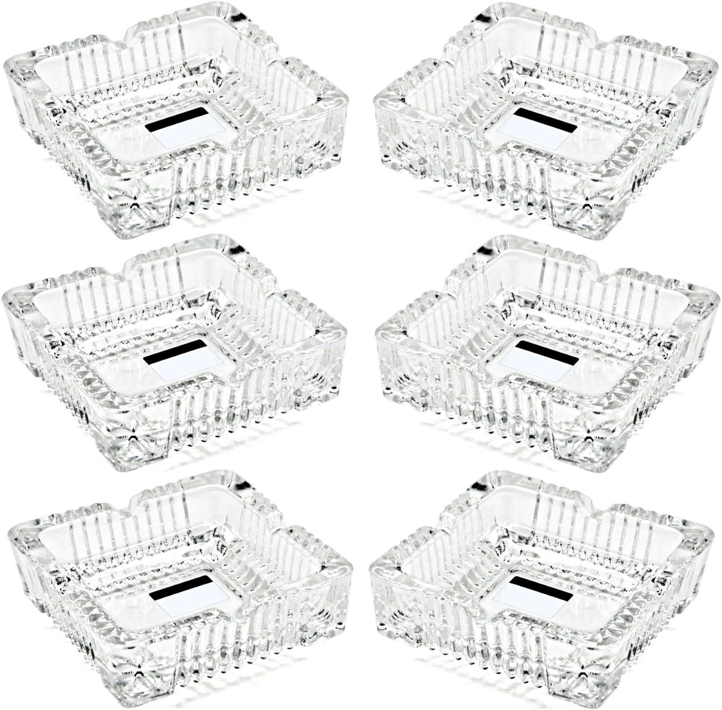 6 ceniceros de cristal Cenicero cuadrado de exterior | Apilable | Resistente al calor | Con 4 estantes | Apto para lavavajillas