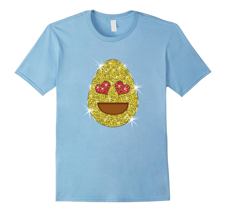 Easter Egg Heart Eyes Emoji T-Shirt for Girls and Women-TD