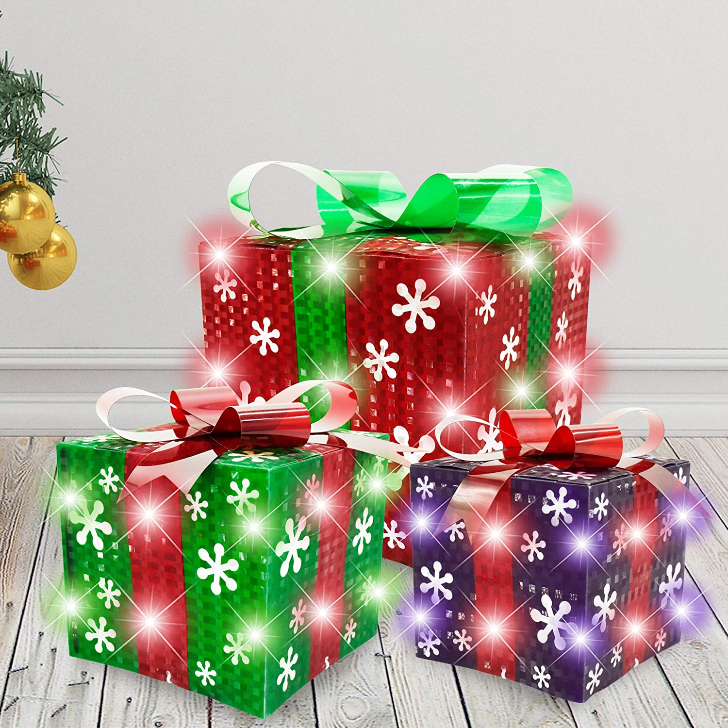 Christmas Light Boxes Décor Set of 3 Christmas Lighted Gift Boxes Decorations Outdoor Indoor and Christmas Tree Decorations