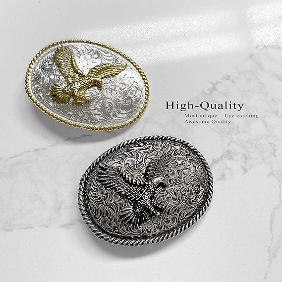 Antique Silver Nickel Finish American Eagle Western Belt Buckle