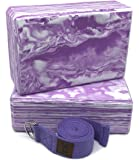 Yoga Block Strap Set - Set of 2 Yoga Block(Yoga Brick) 3 inch/4 inch, and Yoga Strap/Yoga Belt Kit