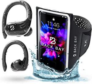 Runner 60 Waterproof Wireless Bluetooth Earbuds and No-Slip Running Armband. 80 Hour Long Battery Life Headphones Ear Hook, Gym Workout Bass Boost. Armband fits iPhone 12, Max, XS, XR, Galaxy, Note