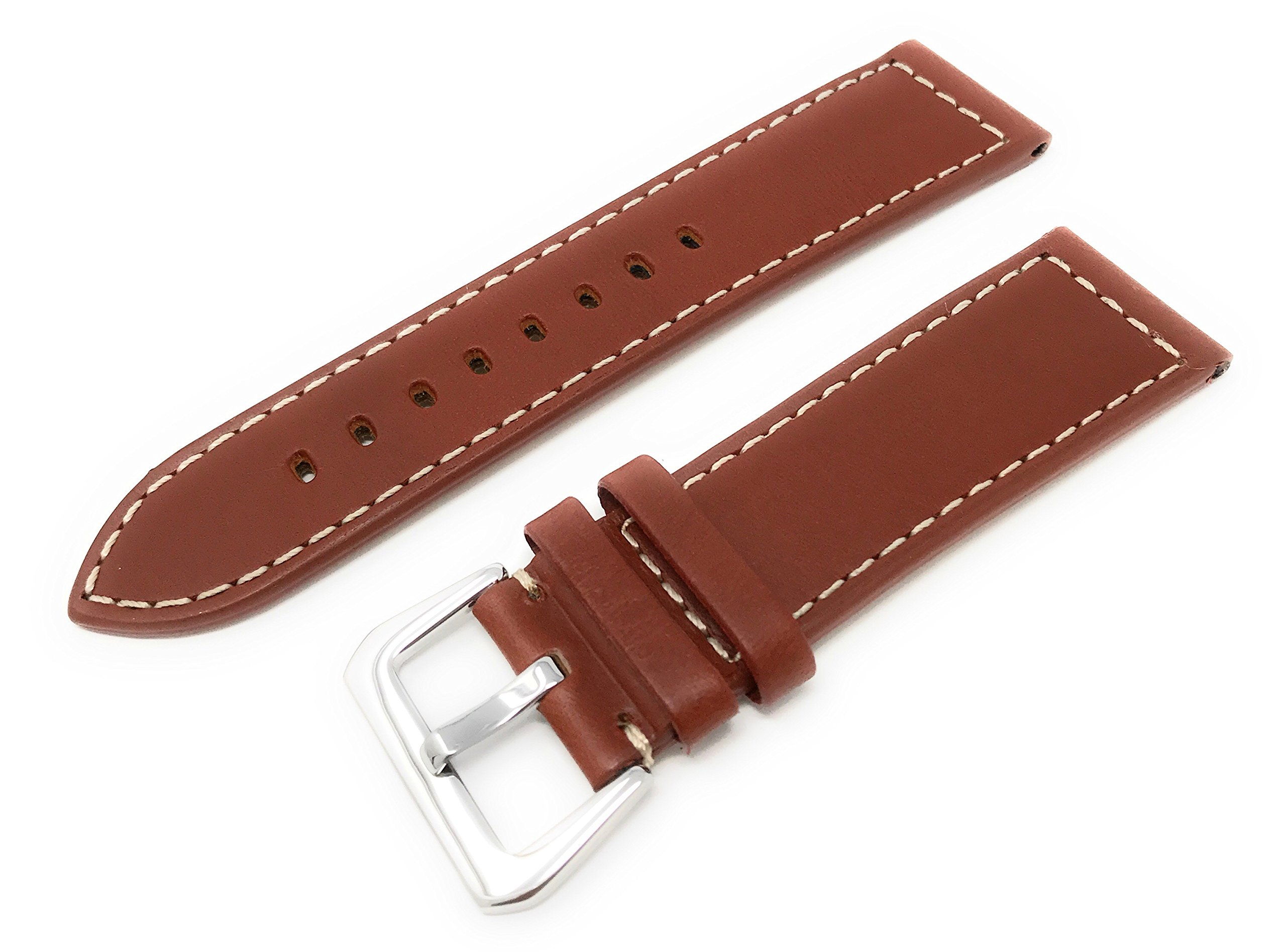20mm Width Panerai Style Leather Watch Band Original Style stainless Steel Buckle Tan Color Watchband - by JP Leatherworks