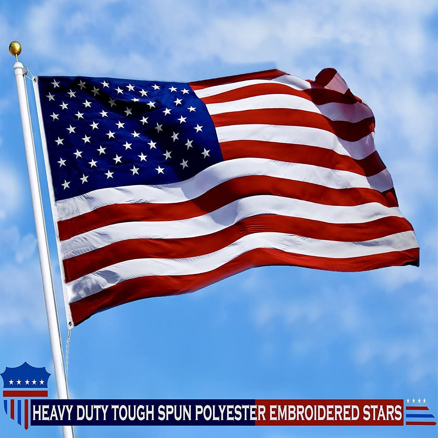 Sewn Stripes 2.5x4 feet Tough American Flag G128 Brass Grommets Heavy Duty Spun Polyester 220GSM Premium US USA Flag Indoor//Outdoor Durable Embroidered Stars Vibrant Colors