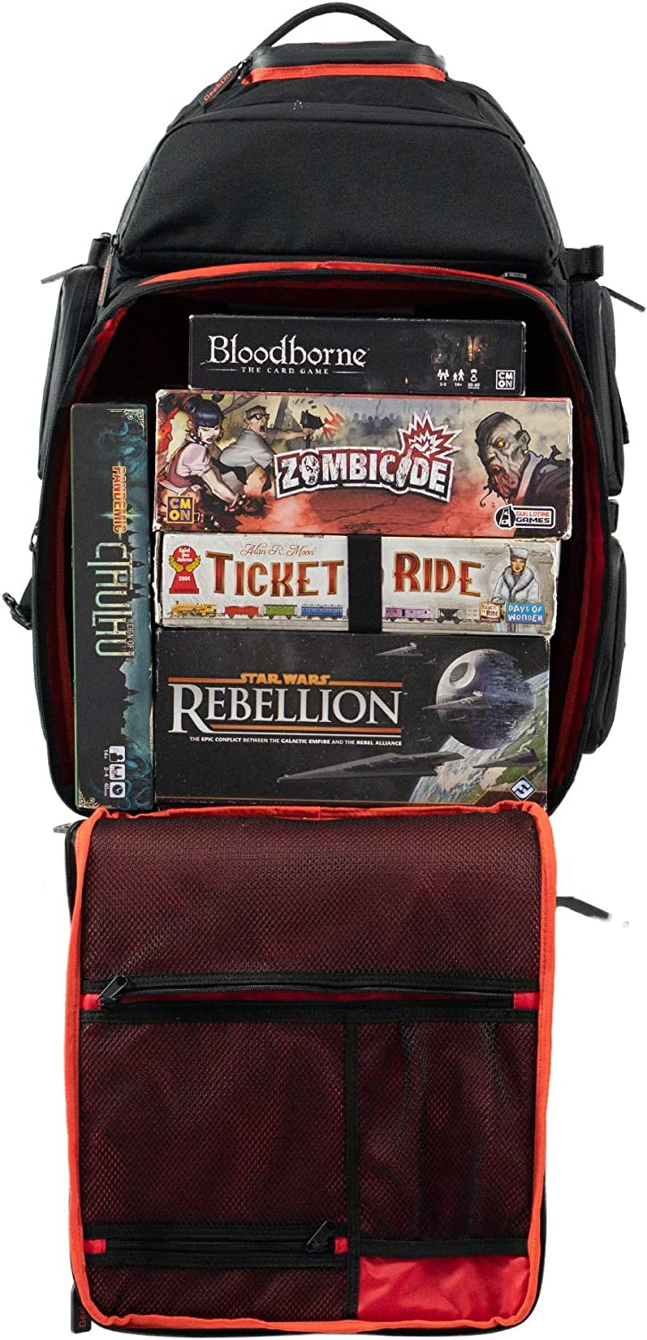 Ultimate Boardgame Backpack - The Smartest Way to Carry Your Games - Expandable Multi-Functional Backpack - Carry-on Compliant (Black/Red)
