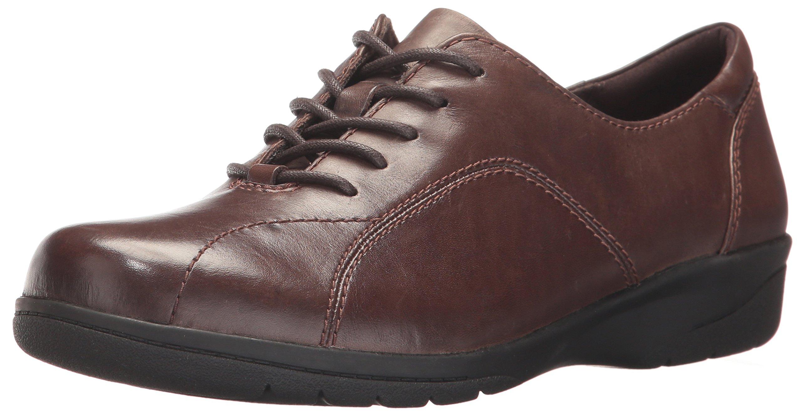 CLARKS Women's Cheyn Ava Oxford, Dark Brown Leather, 6.5 M US by CLARKS