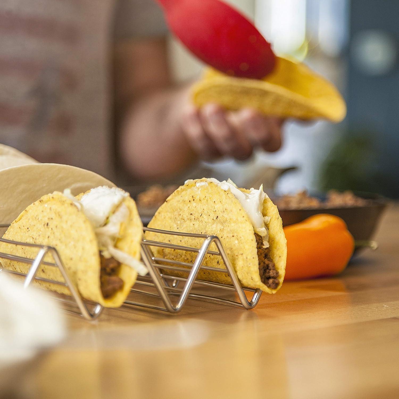 Soporte Para Tacos Mexicanos: 2 Bandejas Metálicas de Alambre Para Servir Tacos de Concha Blanda y Dura - Portatacos Aptos para Grill, Horno y Lavavajillas ...