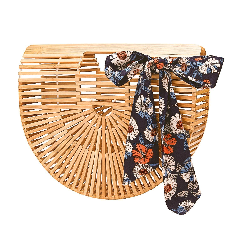 Bamboo Handbag Handmade Clutch Large Tote Bag Womens Summer Beach Bag