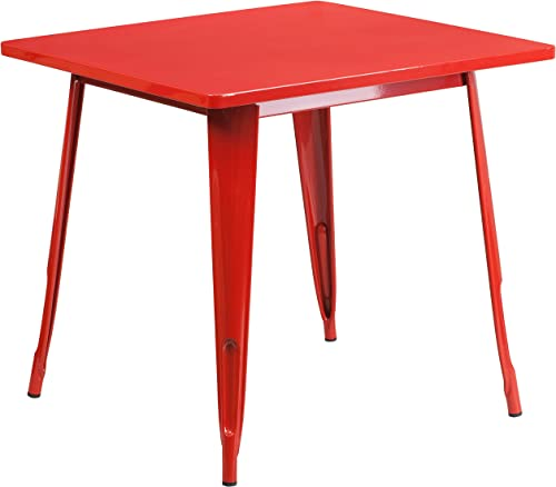 Flash Furniture Commercial Grade 31.5″ Square Red Metal Indoor-Outdoor Table