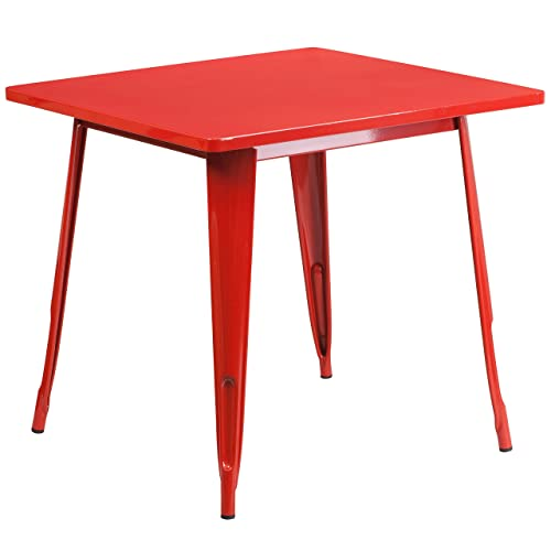 Flash Furniture 31.5 Square Red Metal Indoor-Outdoor Table