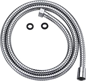 100% Metal Shower Hose For Hand Held Shower Heads | Extra Long 72 Inch Cord Made With Commercial Grade 304 Stainless Steel | Universal Replacement Part For Handheld Showerhead Hoses, Chrome