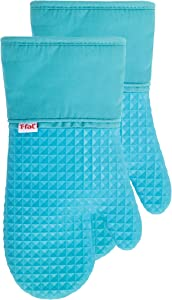 T-Fal Textiles 54318 Waffle Softflex Silicone Oven Thumb Mitt, 2 Pack, Breeze
