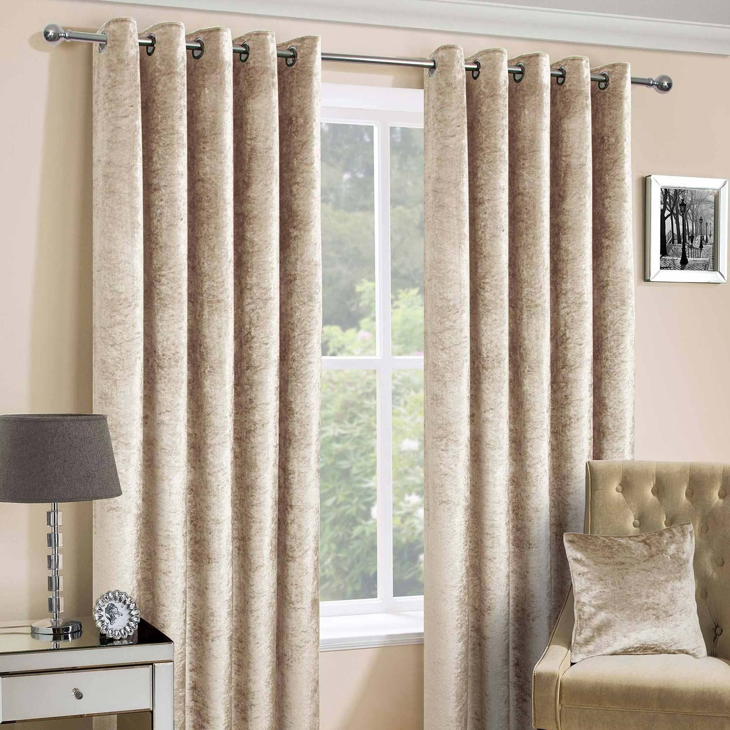 Homescapes Champagne Crushed Velvet Lined Curtain Pair 46 x 54 Inch Drop (117 x 137 cm) Luxury Heavy Weight Contemporary Neutral Eyelet Curtains