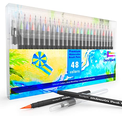 Watercolor Brush Pens Set   48 colors   Best Real Soft Brush Markers for  Adult and Kids Coloring Books, Drawing, Calligraphy, Writing, Highlighters    ...