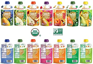 Happy Tot Super Foods Protein Fiber Variety of 14 Toddler Try 7 different Flavors)
