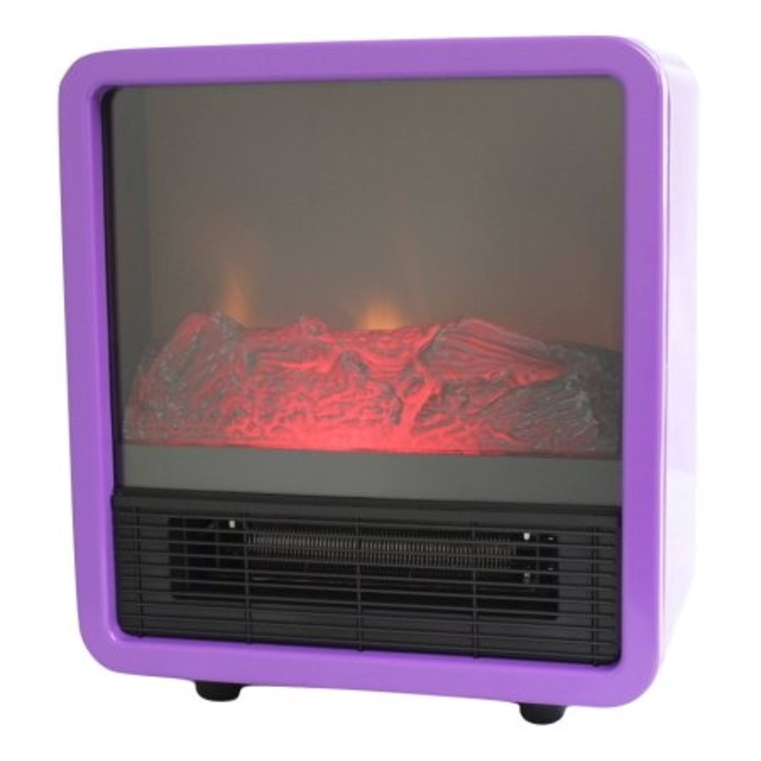 Personal Portable Fire Cube Electric 1500 Watts Heater Fireplace, Purple