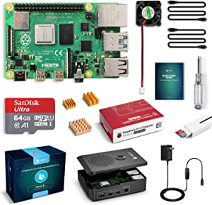 LABISTS Raspberry Pi 4 4GB Starter Kit with 64GB Micro SD Card Preloaded Noobs, Black Case, Heatsink Fan, Micro HDMI Cable x 2, SD Card Reader (4GB RAM)