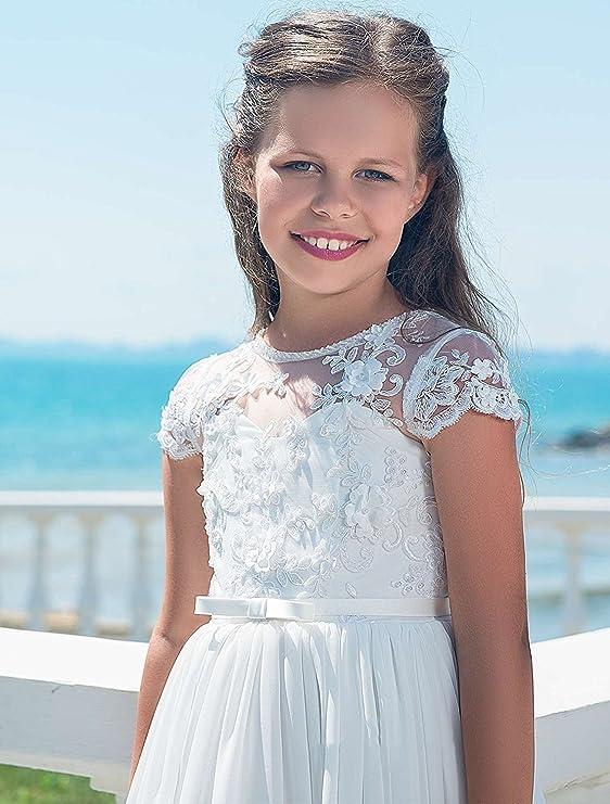 6649e46baa53 Auxico Chiffon Abiti da ragazza di fiori per il matrimonio bambini Abito da  sera Abito da Comunione  Amazon.it  Abbigliamento