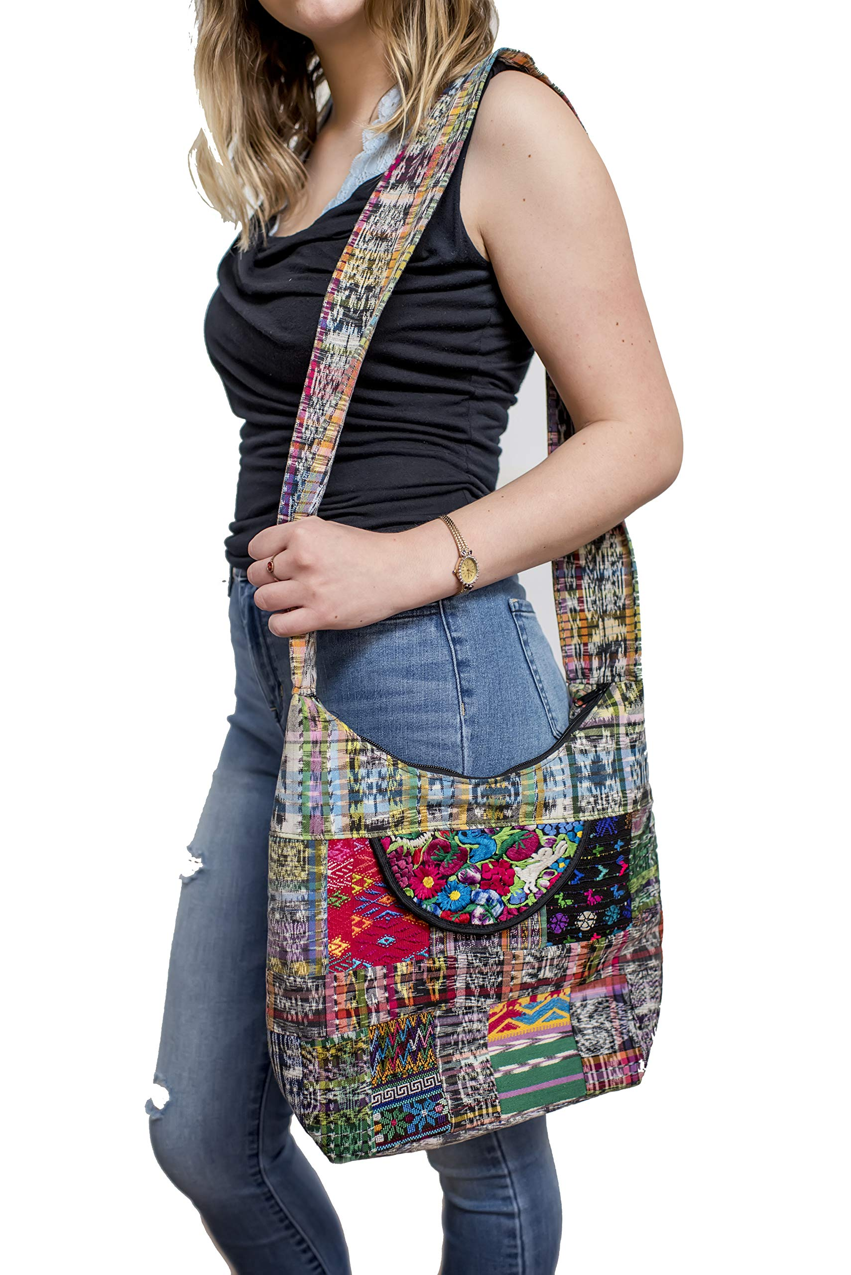 Boho Sling Embroided Hippie Bag Patchwork Hobo Quilted Crossbody Handbags Colorful Unique Purse Women Gift Long Strap Gym Travel Spacious