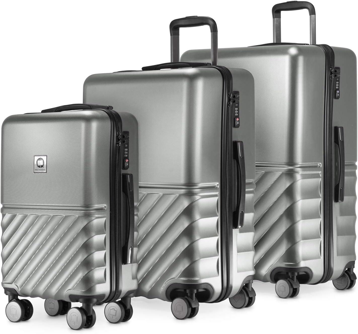 HAUPTSTADTKOFFER - Boxi - Juego de 3 piezas ( 55 cm, 66 cm, 76 cm), Maleta rígida giratoria, Trolley, TSA, 4 rudeas, Plateado
