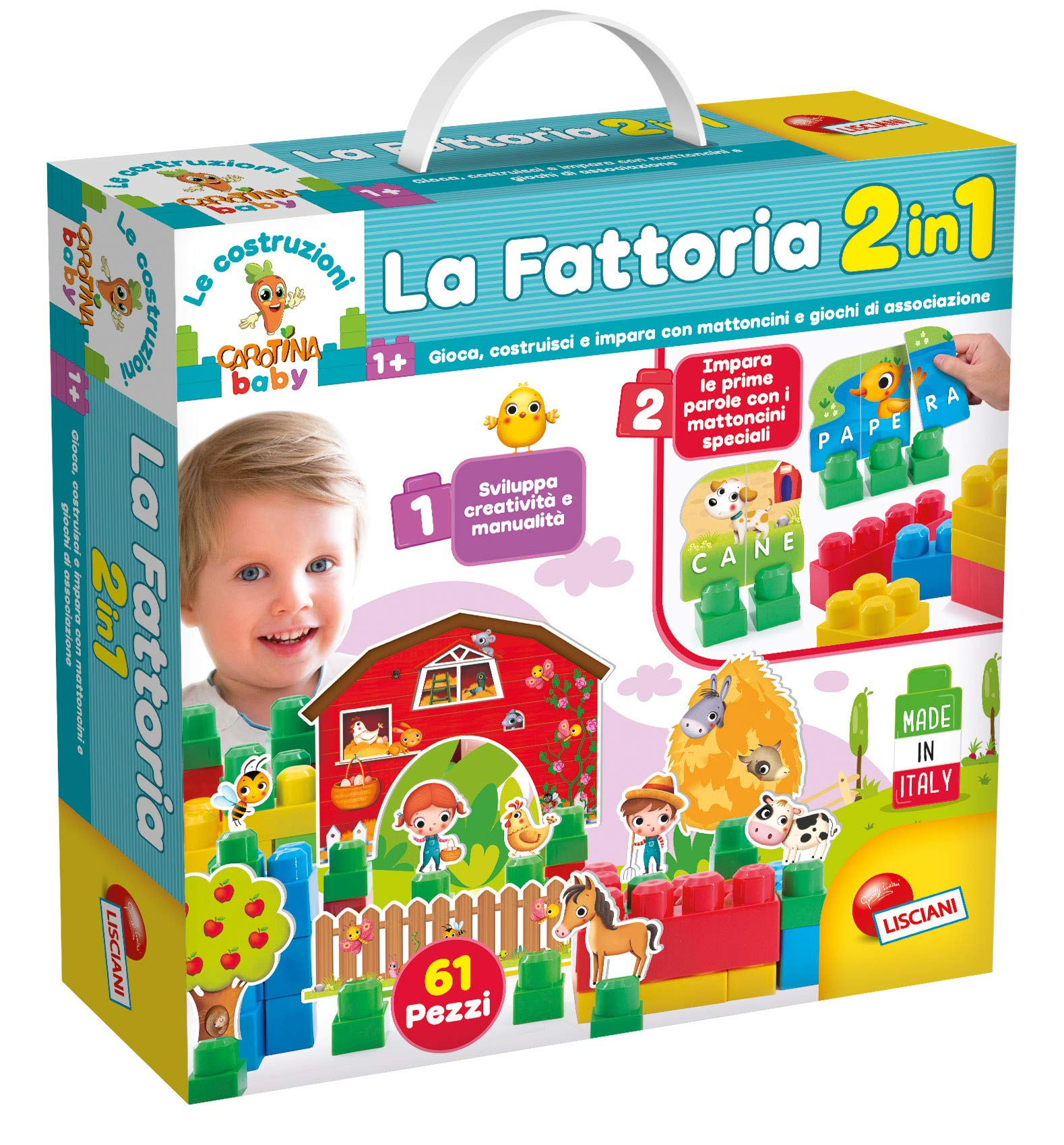 Lisciani Games-The Building of carotina The Farm, 2in 1, Multicoloured, 68555
