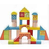 Akrobo Wooden Blocks for Kids, Multicolour - 38 Pcs