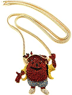 Amazon gwood syrp iced out pendant necklace gold color franco gwood kool aid necklace man pendant with gold color 36 inch franco chain aloadofball Images