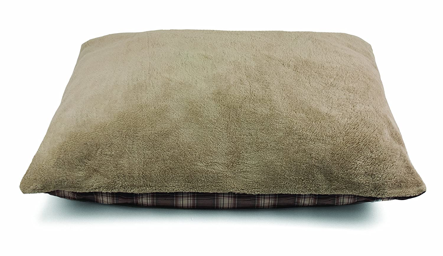 Brown Dallas Manufacturing Co. Products Fleece Pet Bed, Brown Plaid, 36 by 45-Inch