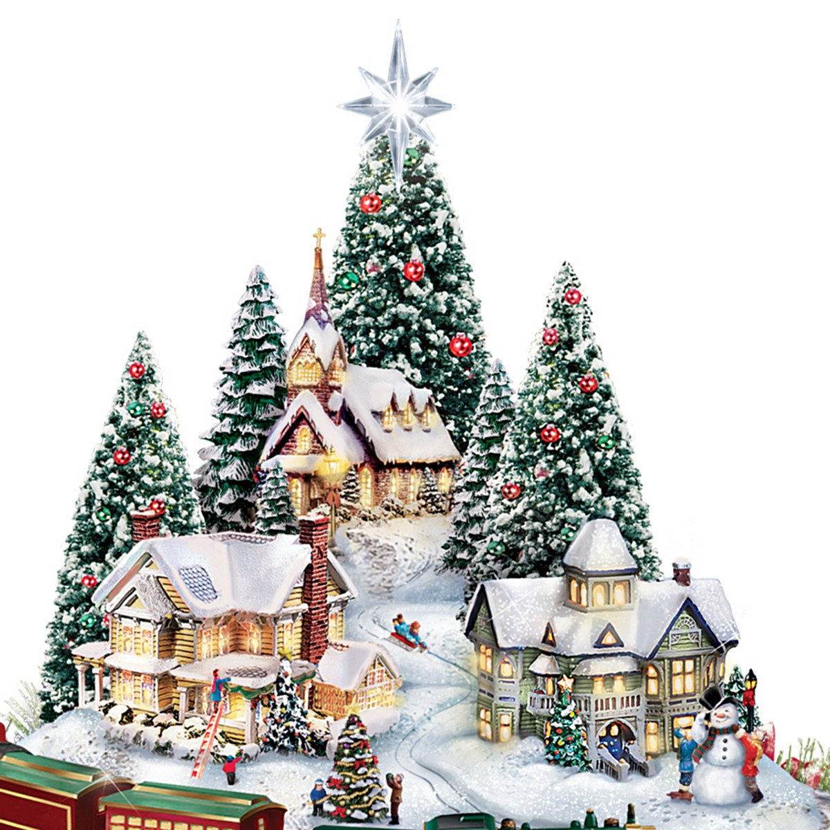 Thomas Kinkade Christmas Village Floral Centerpiece with Lights Music and Motion Close up of Houses